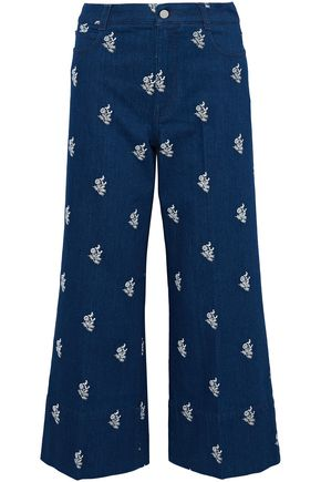 STELLA McCARTNEY Embroidered high-rise wide-leg jeans