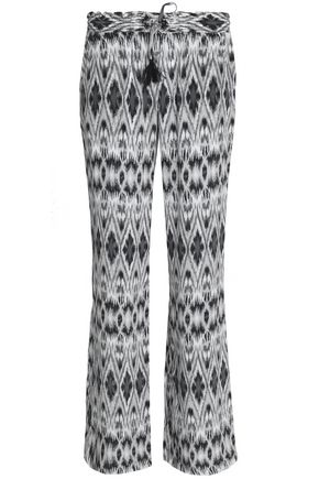 JOIE Printed silk crepe de chine bootcut pants
