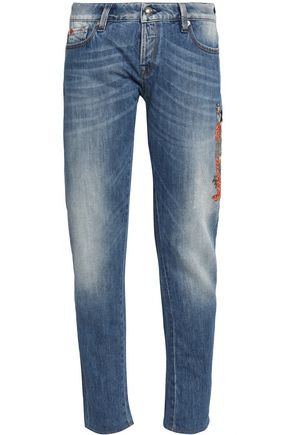 LOVE MOSCHINO Embroidered faded slim-leg jeans