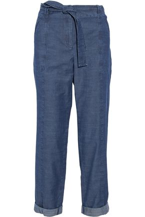 A.P.C. Belted cotton-chambray straight-leg pants