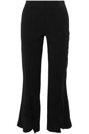 CUSHNIE ET OCHS Cropped ruffled crepe straight-leg pants