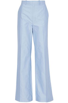JOSEPH Cotton-satin wide-leg pants