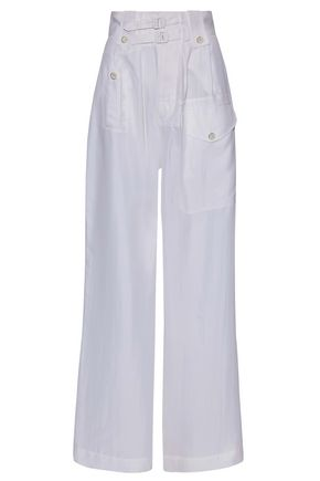 JOSEPH Buckled washed-silk wide-leg pants