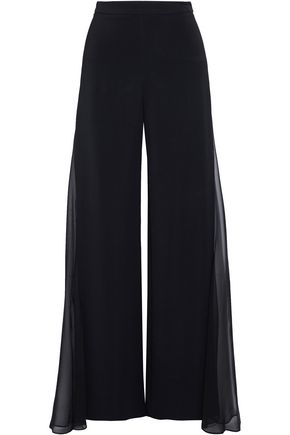 CUSHNIE ET OCHS Silk georgette-paneled crepe wide-leg pants