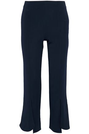 CUSHNIE ET OCHS Cropped ruffled stretch-crepe straight-leg pants