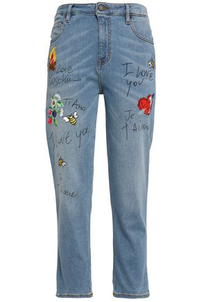 LOVE MOSCHINO Embroidered high-rise straight-leg jeans