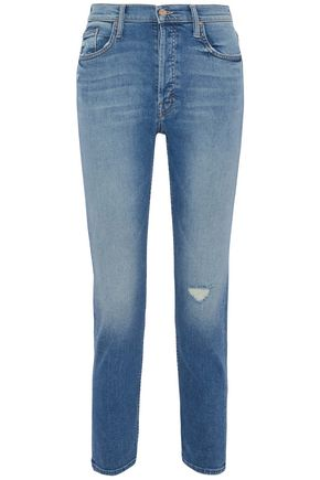 MOTHER Love Gun high-rise distressed slim-leg jeans
