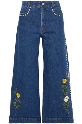 STELLA McCARTNEY Embroidered studded denim culottes