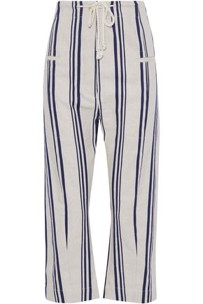 JOSEPH Cropped striped cotton and linen-blend wide-leg pants