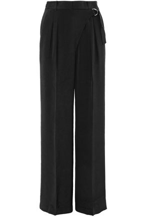 Belted Pleated Silk Wide Leg Pants by T By Alexander Wang