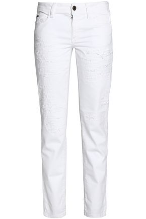 JUST CAVALLI Distressed mid-rise slim-leg jeans