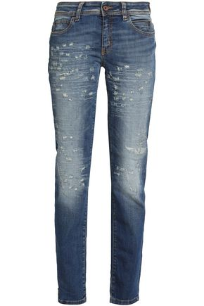 JUST CAVALLI Embroidered distressed mid-rise straight-leg jeans