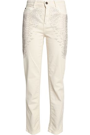 JUST CAVALLI Crystal-embellished high-rise straight-leg jeans