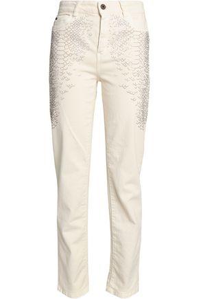 JUST CAVALLI Crystal-embellished high-rise straight-leg jeans