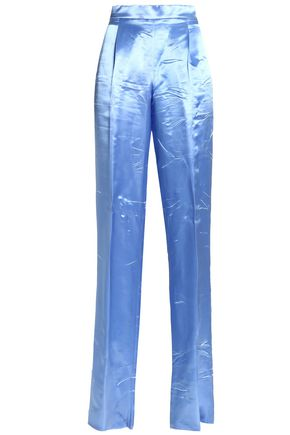 EMILIO PUCCI Crinkled-satin straight-leg pants