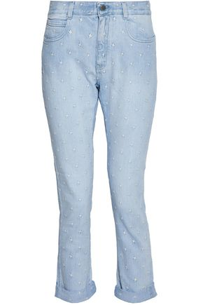 STELLA McCARTNEY Embroidered mid-rise slim-leg jeans