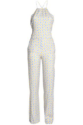 LOVE MOSCHINO Printed crepe halterneck jumpsuit