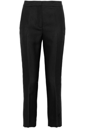 Cropped Satin Trimmed Twill Straight Leg Pants by T By Alexander Wang