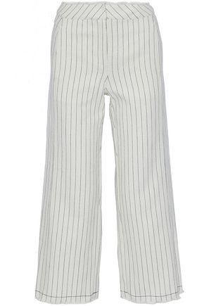 T by ALEXANDER WANG Frayed striped basketweave cotton wide-leg pants