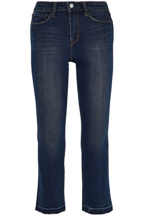 L'AGENCE Cropped faded mid-rise bootcut jeans