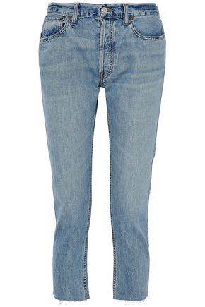 RE/DONE by LEVI'S Cropped faded boyfriend jeans