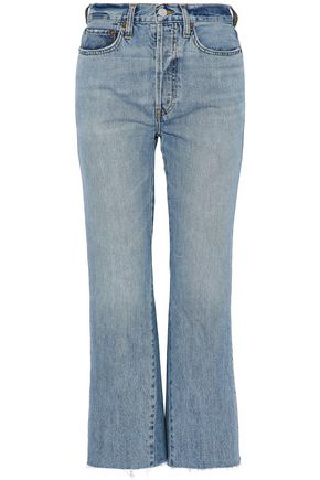 RE/DONE by LEVI'S Cropped distressed high-rise flared jeans