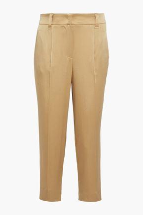 BRUNELLO CUCINELLI Pleated satin straight-leg pants
