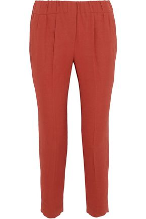 BRUNELLO CUCINELLI Pleated crepe slim-leg pants
