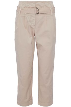 BRUNELLO CUCINELLI Belted cropped cotton-blend straight-leg pants