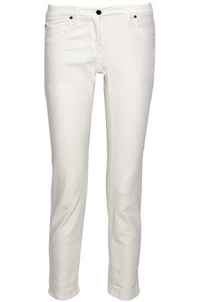BRUNELLO CUCINELLI Cropped distressed low-rise slim-leg jeans