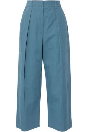 BRUNELLO CUCINELLI Cropped pleated cotton-blend wide-leg pants