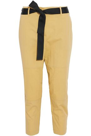 BRUNELLO CUCINELLI Belted cropped cotton-blend twill tapered pants