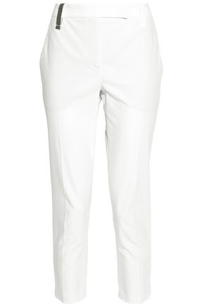 BRUNELLO CUCINELLI Bead-embellished cotton-blend slim-leg pants