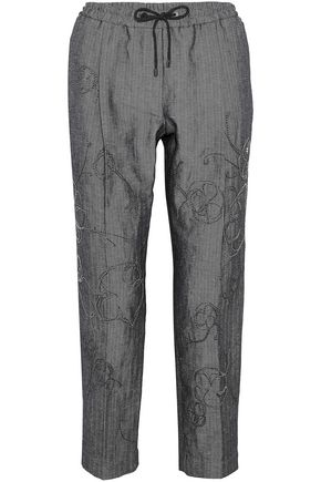 BRUNELLO CUCINELLI Embellished cotton and linen-blend straight-leg pants