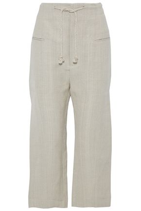 JOSEPH Cropped canvas wide-leg pants