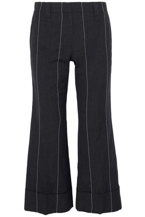 BRUNELLO CUCINELLI Striped wool and linen-blend kick-flare pants