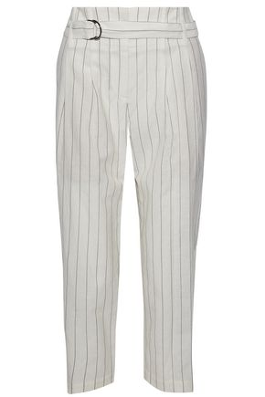 BRUNELLO CUCINELLI Cropped striped wool and linen-blend straight-leg pants
