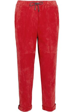 BRUNELLO CUCINELLI Cropped bead-embellished suede tapered pants