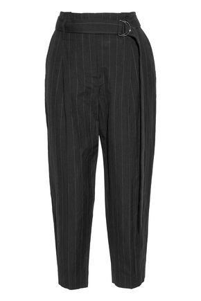 BRUNELLO CUCINELLI Cropped pinstriped wool and linen-blend canvas tapered pants