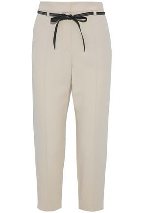 BRUNELLO CUCINELLI Cropped bead-embellished crepe straight-leg pants