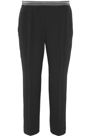 BRUNELLO CUCINELLI Cropped bead-embellished crepe slim-leg pants