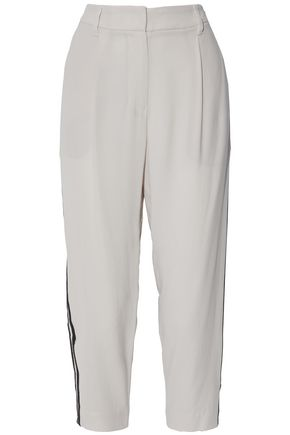 BRUNELLO CUCINELLI Cropped bead-embellished crepe de chine tapered pants