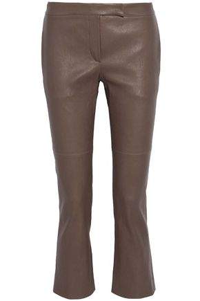 BRUNELLO CUCINELLI Cropped leather flared pants
