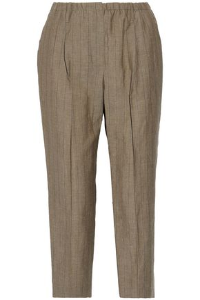 BRUNELLO CUCINELLI Pinstriped wool and linen-blend canvas tapered pants