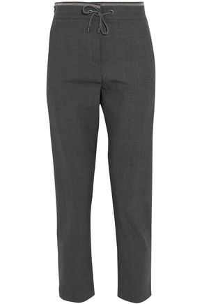 BRUNELLO CUCINELLI Cropped bead-embellished wool-blend tapered pants