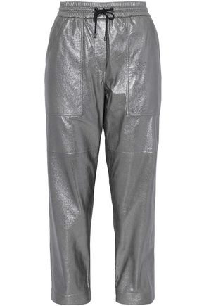 BRUNELLO CUCINELLI Cropped metallic leather straight-leg pants