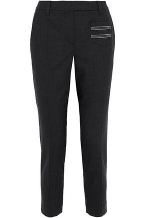 BRUNELLO CUCINELLI Cropped bead-embellished wool-blend slim-leg pants