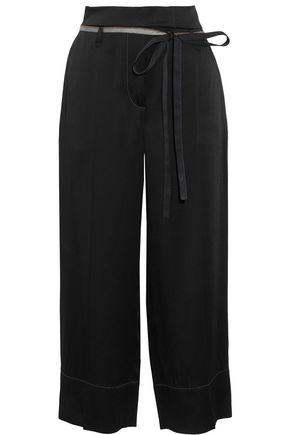 BRUNELLO CUCINELLI Metallic-trimmed satin wide-leg pants
