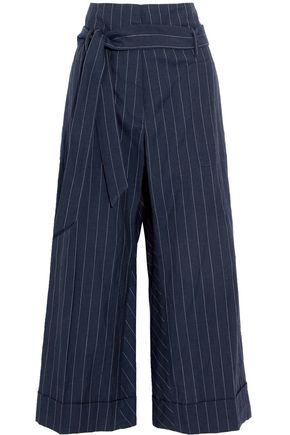 BRUNELLO CUCINELLI Cropped pinstriped wool and linen-blend canvas flared pants