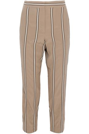 BRUNELLO CUCINELLI Striped silk slim-leg pants